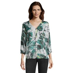 Betty & Co Leaf Print Blouse Green