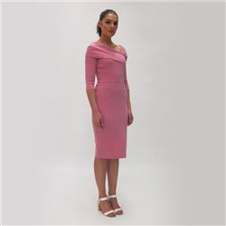 Fee G Shift Dress With Fold Neckline Pink