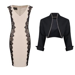 Linea Raffaelli Black And Beige Lace Dress And Bolero