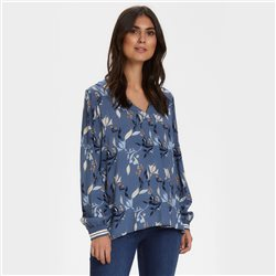 Part Two Japanese Print Tunic Top Blue