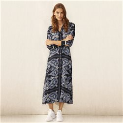 Part Two Long Sleeve Printed Dress Navy