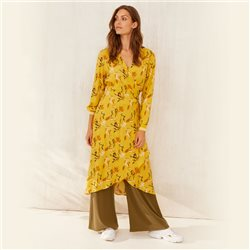 Part Two Japanese Print Wrap Dress Lemon