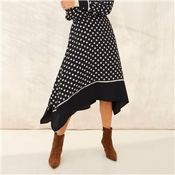 Part Two Polka Dot Skirt Navy