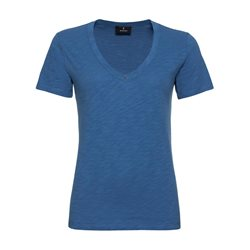 Monari V Neck Cotton Top Blue