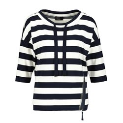 Monari Striped Drawstring Top Navy
