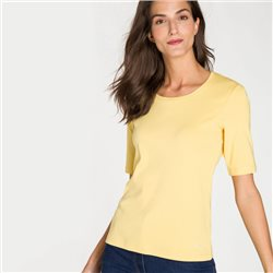 Olsen Round Neck Top With Star Detail Yellow