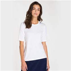 Olsen Waved Edge Neckline Top White