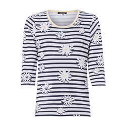 Olsen Stripes And Daisy Print Top Navy