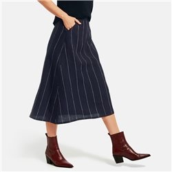Gerry Weber Linen Stripe Skirt Navy