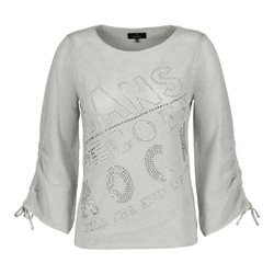 Monari Ajour Jumper With Rhinestone Script Grey