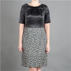 Fee G Black Dress With Leopard Print Skirt