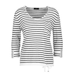 Monari Striped Jumper With Rhinestone Cuff Detail White