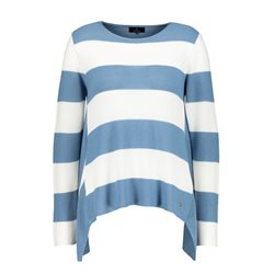 Monari Rice Grain Jumper With Stripe Detail Blue