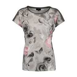 Monari Rose Print Top Grey