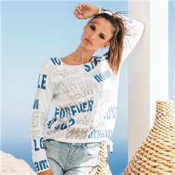 Monari Jumper With Jacquard Lettering Blue