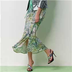 Lebek Multi Print Skirt Green