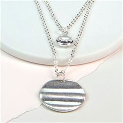 Pom Plated Layered Disc And Crystal Necklace Silver