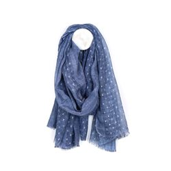 Pom Washed Scarf With Metallic Pattern Blue