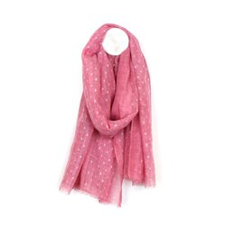 Pom Washed Scarf With Metallic Pattern Pink