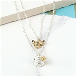 Pom Plated Layered Honey Bee And Beehive Necklace Silver