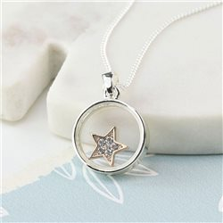 Pom Plated Circle Frame Crystal Star Necklace Silver