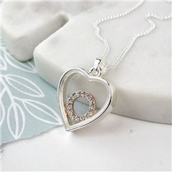 Pom Plated Heart Frame Crystal Circle Necklace Silver