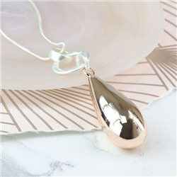 Pom Plated Necklace With Rose Gold Teardrop Rose
