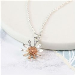 Pom Daisy Necklace With Rose Gold Detail Silver