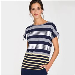 Olsen Stripe Detail Top Navy