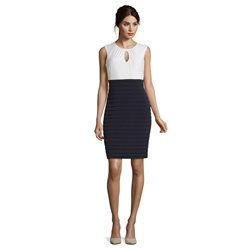 Vera Mont Two-Tone Jersey Dress Navy
