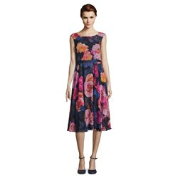 Vera Mont Floral Midi Dress Navy