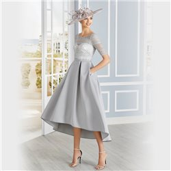 Rosa Clara Dipped Hem Dress Silver