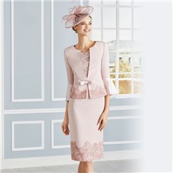 Rosa Clara Dress With Bell Sleeve Jacket Pink
