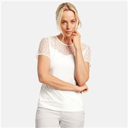 Taifun Lace Trim Top Off White