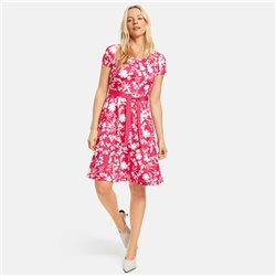 Taifun Floral Print Dress With Tie Belt Pink