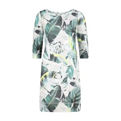 Betty & Co Leaf Print Dress Grey