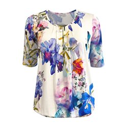 Erfo Floral Print Top Blue