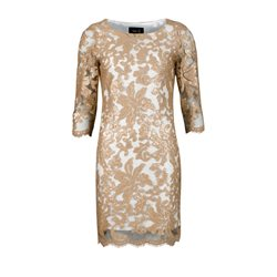 Fee G Cream Dress With Bronze Sequin Overlay