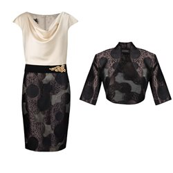Linea Raffaelli Almond And Black Chocolate Dress And Bolero