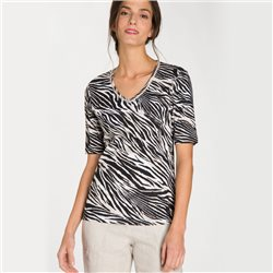 Olsen V Neck Zebra Print Top Black