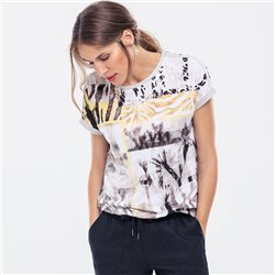 Olsen Multi Print Top With Shimmer Detail Beige