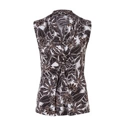 Olsen Sleeveless Leaf Print Top Black