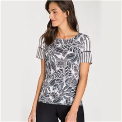 Olsen Top With Leaf Print And Stripe Pattern Black