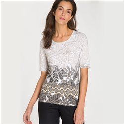 Olsen Leaf Print Top With Studs Beige