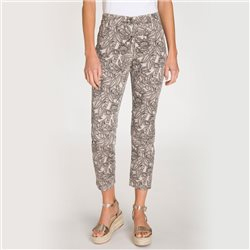 Olsen Mona Slimtrousers With All Over Leaf Print Beige