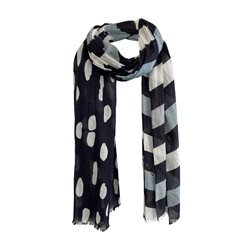 Monari Stripe And Spot Scarf Blue