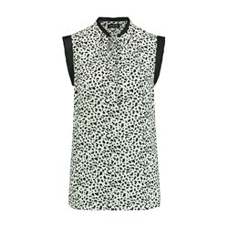 Taifun Dalmation Print Blouse With Tie Neckline Off White