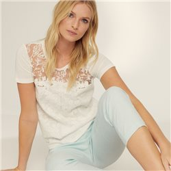 Taifun Lace Detail Top Off White