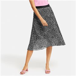 Taifun Spot Print Pleated Skirt Black