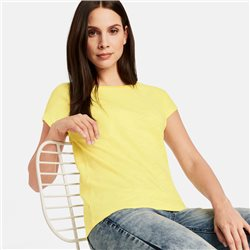 Taifun Organic Cotton Top With Decorative Neckline Yellow